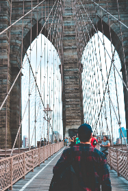new york,  travel,  brooklyn bridge, people, walk, structure, suspension, beams