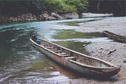 boats, river, water, mud