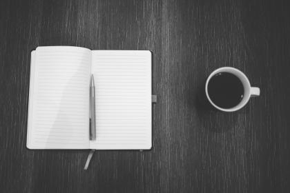 notebook, notepad, pen, journal, writing, coffee, business, desk, office, black and white