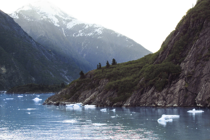 snow,   water,   mountains,   ravine,   nature,   outdoors,   winter,   cold,   sky,   river,  ice,  floating,  mountain,  trees,  rocky,  coast