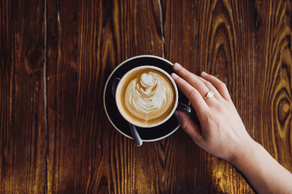 coffee,   cappucino,   cup,   saucer,   table,   wood,   hand,   woman