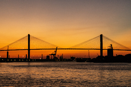 orange,  sunset,  bridge,  infrastructure,  travel,  water,  sky,  outdoors,  harbor,  dusk,  glow,  warm