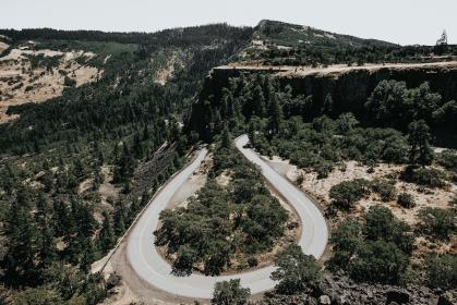hairpin, winding, road, highway, trees, forest, woods, outdoors, landscape, nature, mountains, view