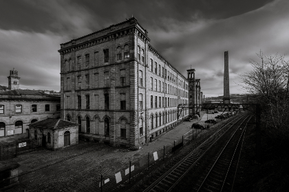 old,  factory,  building,  mill,  manufacturing,  brick,  exterior,  train,  tracks,  classic,  warehouse,  architecture,  black and white,  cars,  sky,  clouds