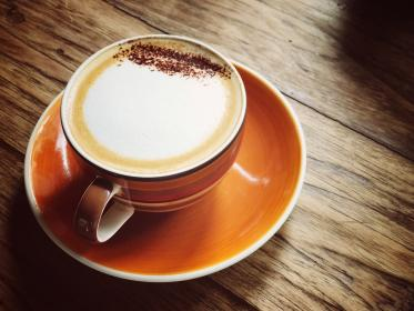 cappuccino, froth, coffee, espresso, drink, steamed, milk, saucer, coffeehouse, shop, cafe