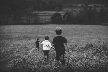 kids, children, boys, playing, running, field, fun, nature, grass, plants, trees, people, black and white, friends, family, group
