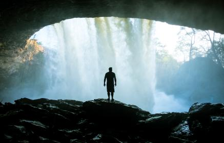 people, man, alone, silhouette, rocks, waterfalls, nature, cave