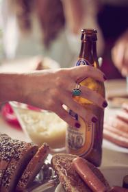 people, woman, hand, manicure, ring, beer, drinks, beverage, alcohol, bread, food, restaurant, kitchen