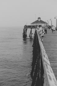 pier, pathway, ocean, sea, water, people, travel, fishing, black and white