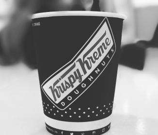 doughnut, restaurant, store, shop, coffee, drink, beverage, table, black and white, monochrome