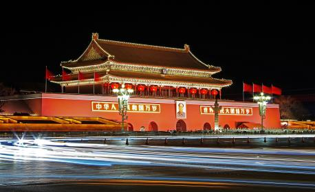 architecture, building, infrastructure, wall, lights, red, flag, china, dark, night, car, vehicle, travel, street, road, highway