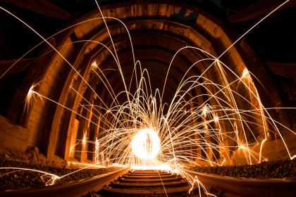 architecture, building, infrastructure, railway, track, sparkling, lights, night