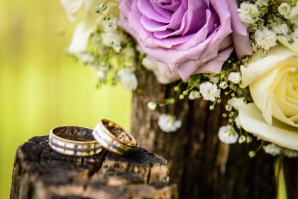 wedding, ring, engagement, couple, pair, blur, wood, bouquet, flower, bunch, roses, petal