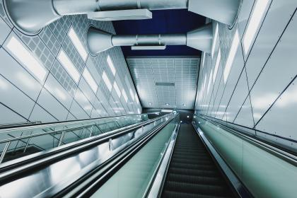 architecture, building, infrastructure, escalator, down, up, lights, wall