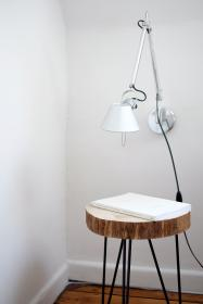 still, items, things, chair, desk, modern, industrial, decor, interior, design, lamp, book, white, walls, minimalist