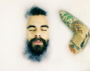 people, man, guy, beard, water, white, bath, tattoos