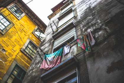 architecture, building, infrastructure, house, apartment, residence, wall, window, laundry