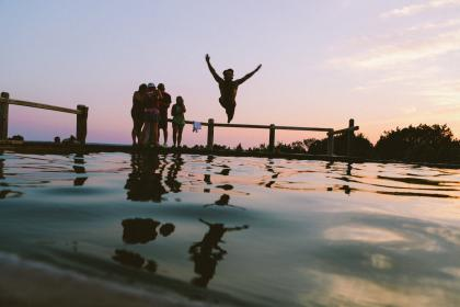 pool, swimming, dive, jump, bathing suit, kids, boys, girls, sky, sunset
