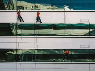 windows, washing, workers, building, reflection, architecture, contractors