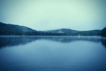 lake, water, nature, forest, trees, mountains, hills, sky, fog, outdoors