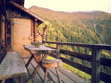 porch, deck, wood, table, bench, stool, trees, hills, view, cottage, nature, mountains