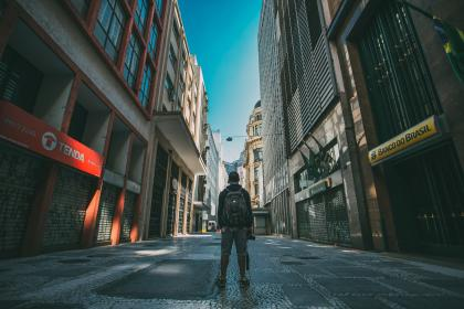 guy, man, male, people, back, contemplate, stand, style, travel, street, road, path, alley architecture, buildings, city, downtown, urban, metro
