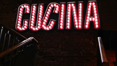 cucina,  retro,  neon,  sign,  kitchen,  restaurant,  food,  drink,  red,  white,  night,  typography