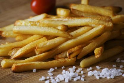 french fries, salt, food