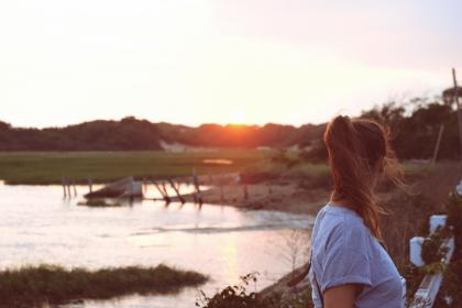 girl, woman, brunette, people, hair, sunset, water, lake, country, outdoors, nature