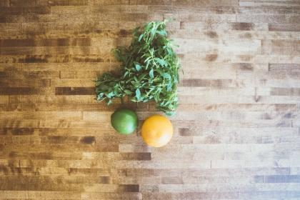 lemon, lime, citrus, fruits, food, mint, leaves, wood, table