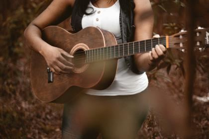 guitar, wood, strings, music, sound, instrument, band, classical, trees, forest, brown, people, woman, lady