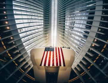 architecture, infrastructure, lights, building, design, steel, metal, flag, usa