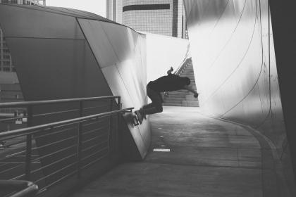 skateboarding, skater, grind, tricks, ramp, wall, concrete, railing, black and white