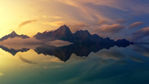 mountain, highland, cloud, sky, summit, ridge, landscape, nature, valley, sea, ocean, water, reflection