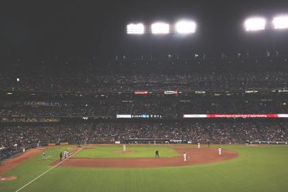 people, crowd, audience, dome, venue, baseball, tournament, field, sport, game, players, men, coach, light