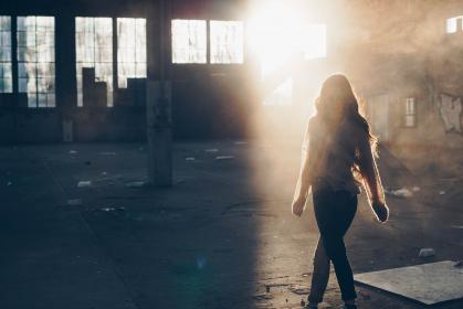 sunlight, people, girl, woman, walking, alone, old, building, structure