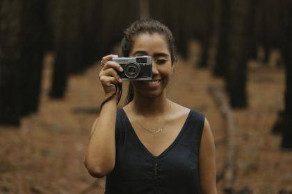 camera, film, woman, smile, photographer, accessories, bun, nature, woods, forest