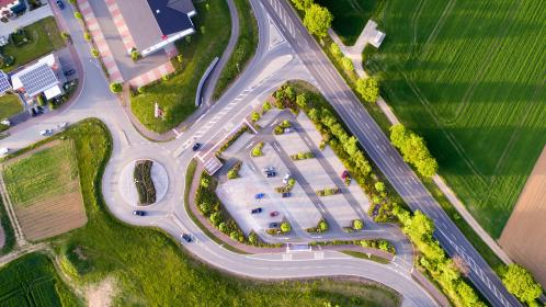 aerial, view, green, grass, trees, plant, buildings, road, street, field