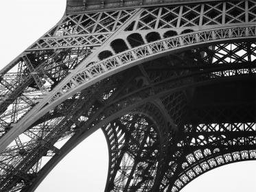 Eiffel Tower, architecture, black and white