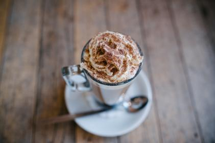 cappuccino, frosty, drink, caramel, glass, saucer, spoon, coffeehouse