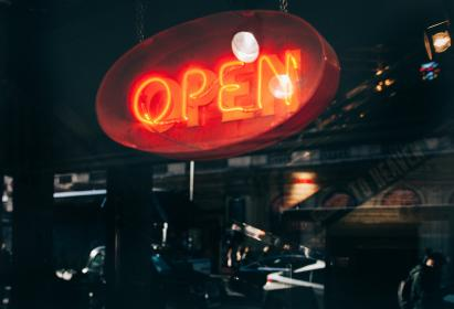 dark, night, light, neon, sign, signage, electricity, open, restaurant, store, shopping
