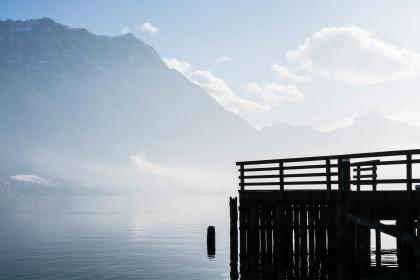 blue, sky, clouds, mountains, water, wood, dock, pier, snow, winter, cold