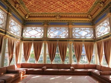 rug, couches, curtains, drapes, windows, ceiling, Topkapı Palace, Istanbul, Turkey