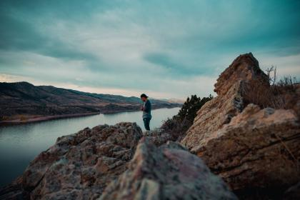 mountain, highland, rocks, hill, cliff, lake, water, nature, travel, outdoor, view, sky, cloud, people, man, guy, alone, millennials