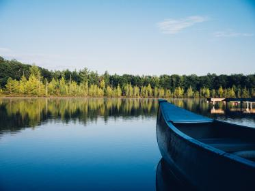 canoe, lake, water, reflection, trees, forest, outdoors, nature, landscape, cottage, rural, blue, sky, summer