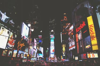 night, dark, crowd, people, party, new york, city, buildings, towers, times square, busy, lights, signs, ads, billboards, evening