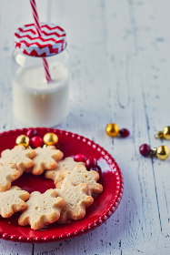 milk,  cookies,  christmas,  festive,  holiday,  shortbread,  snack,  sweets,  food,  rustic,  wood,  glass,  jar,  straw,  plate,  cookie,  ornaments