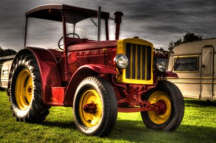 red, tractor, trailer, wheels, tires, hdr
