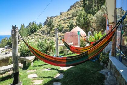 hammocks, Las Olas Suites, Copacabana, Bolivia, relaxing, chilling, grass, yard, hills