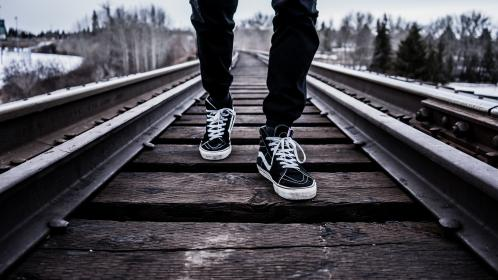 shoes, sneakers, train tracks, lifestyle, outdoors